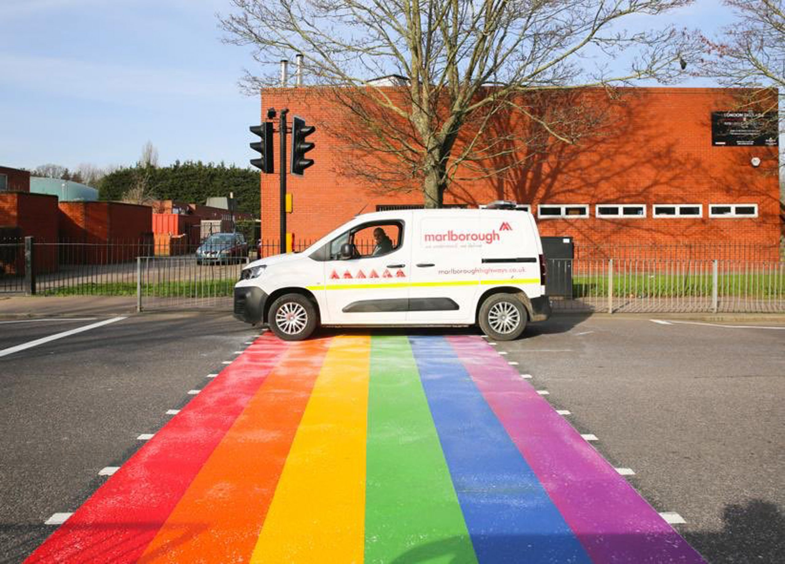 Haringey road marking of rainbow